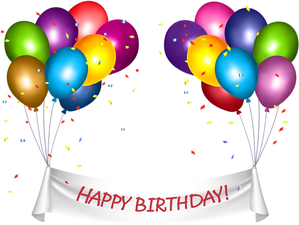 Transparent Happy Birthday Banner And Baloons Png Clip