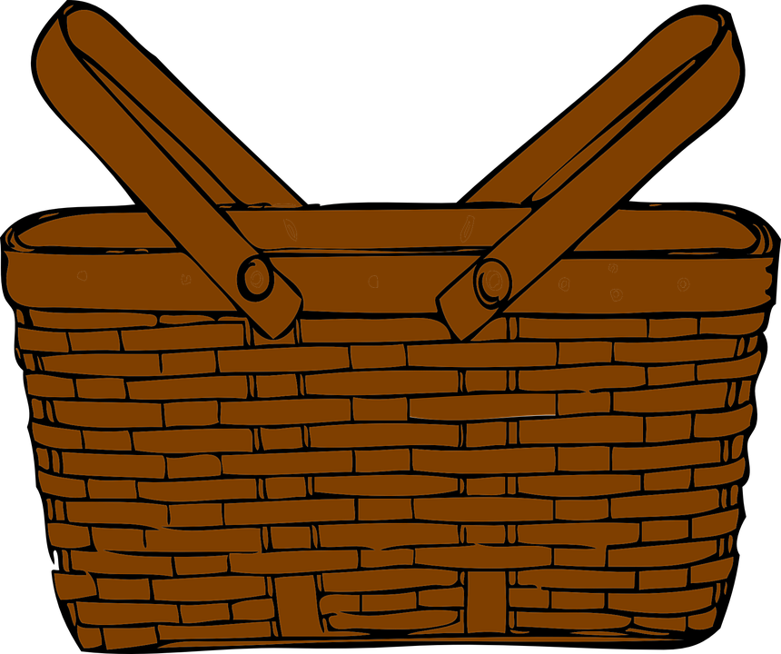 Basket Picnic Brown Handles Wicker Object - Picnic Basket Clip Art (1920x1607)