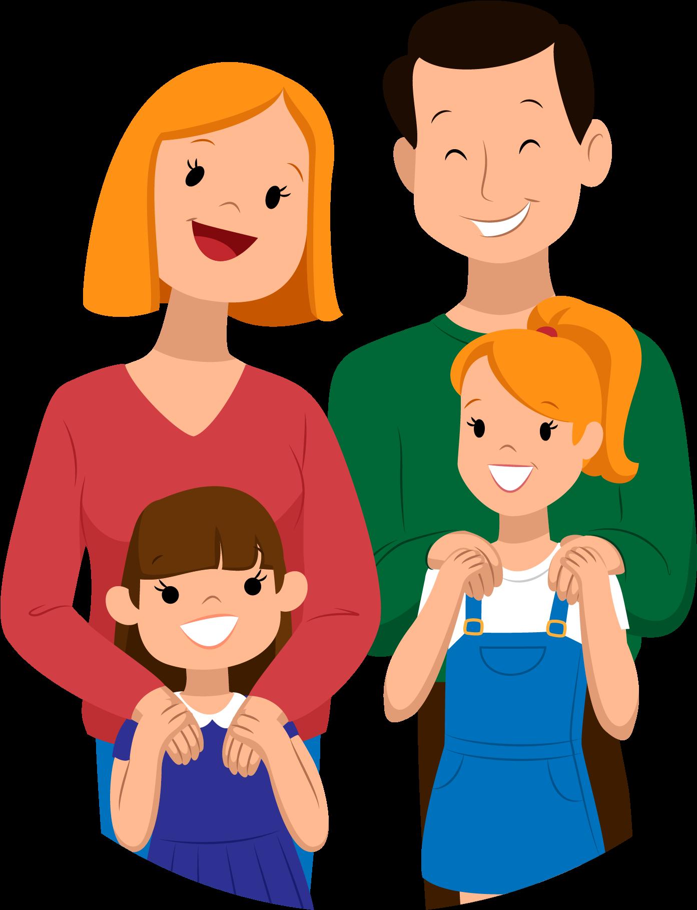Родители с детьми картинки рисованные, медали девочкам