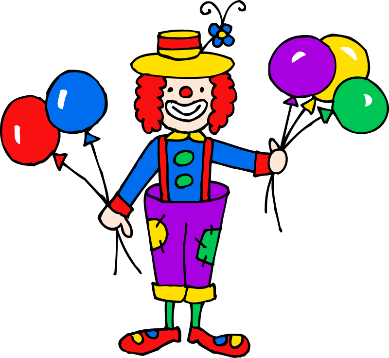 Circus Tent - Clown With Balloons Clipart (800x736)