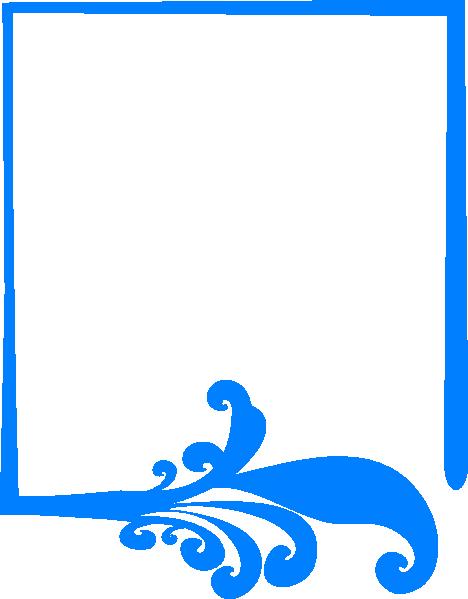 Blue Artistic Frame Png Clip Art - Blue Vector Frame Png (468x599)