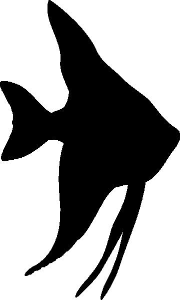 Angelfish Silhouette Clip Art - Tropical Fish Silhouette (616x1024)