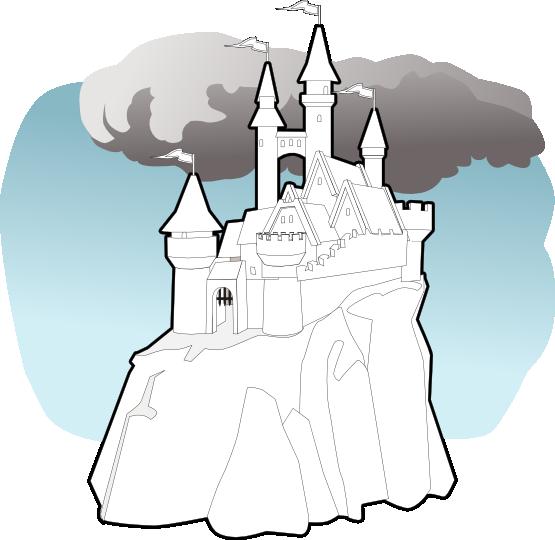 Fairy Tale Castle Black White Line Art 555px 87 - Fairy Tale (555x540)