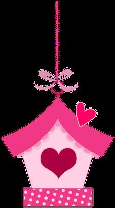 Pink In Love Birds Clipart Topo De Bolo Jardim Encantado Para