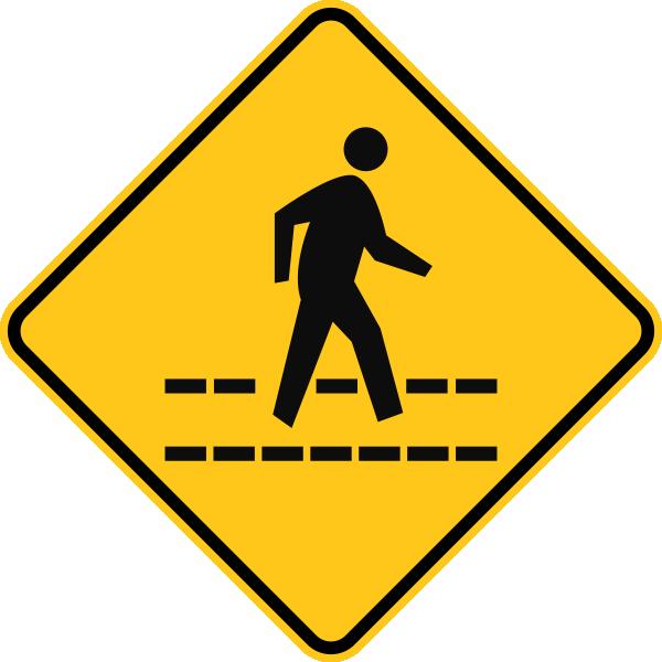 Railroad Crossing Clipart - School Ahead Road Sign