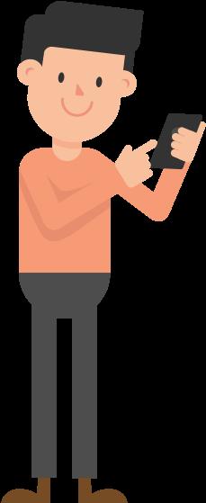 Man Looking At Phone Cartoon Vector - Man With Phone Vector