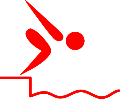 Startblock, Schwimmen, Start, Sprung - Swimming Pictogram (411x340)