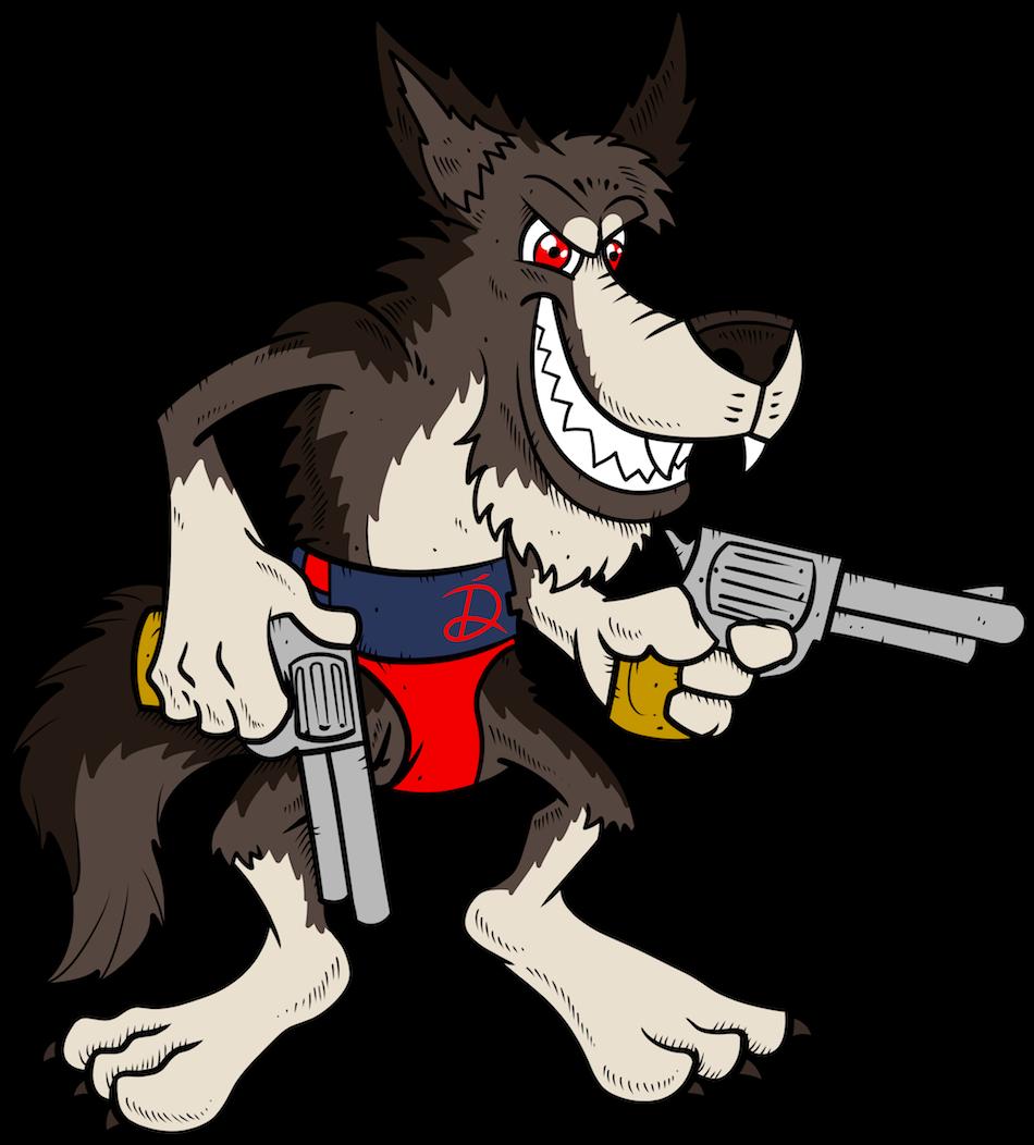 Прикольный волк рисунок, днем рождения текстом