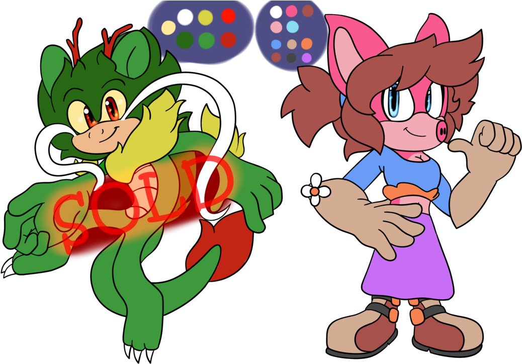 Adoptables 1- Pig And Chinese Dragon By Kjdragon70 - Sonic Oc Chinese Dragon (1057x755)