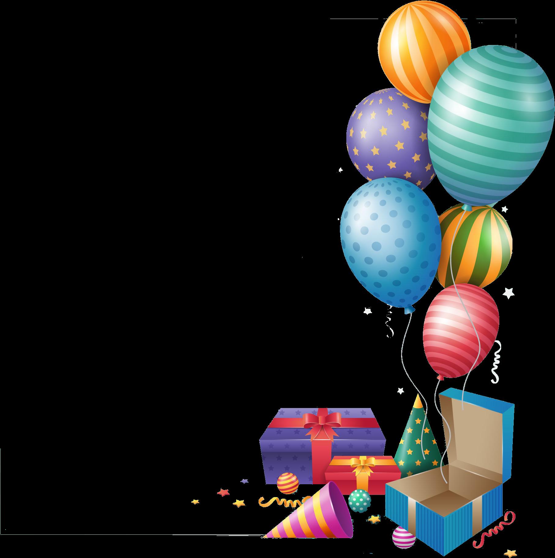 Открытка без фона с днем рождения, надписями при