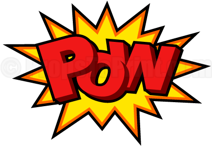 "Printable ""pow"" Comic Book Photo Booth Prop - Boom Comic Book Font (458x354)"