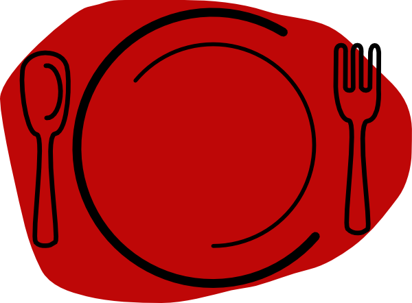 Plate Clipart Small - Spoon And Fork (600x442)
