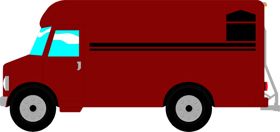 Delivery Van Clipart Png - Red Food Truck Clipart (958x455)