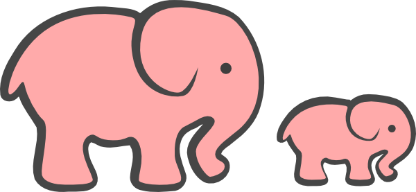 Pink Baby Elephant Clip Art 9 Png - Elephant And Baby Elephant Clipart (600x277)