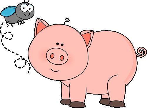 Winter Clipart Pig - Farm Animal Clipart Pig (500x369)