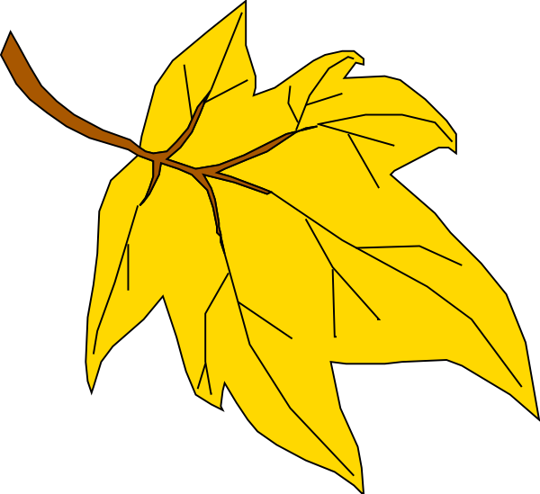 Fall Leaves Cartoon - Yellow Fall Leaf Clipart (600x549)