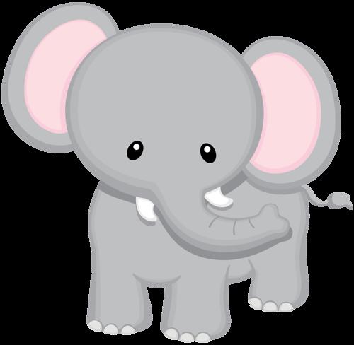 Baby Jungle Animals Clipart - Baby Safari Elephant (500x488)