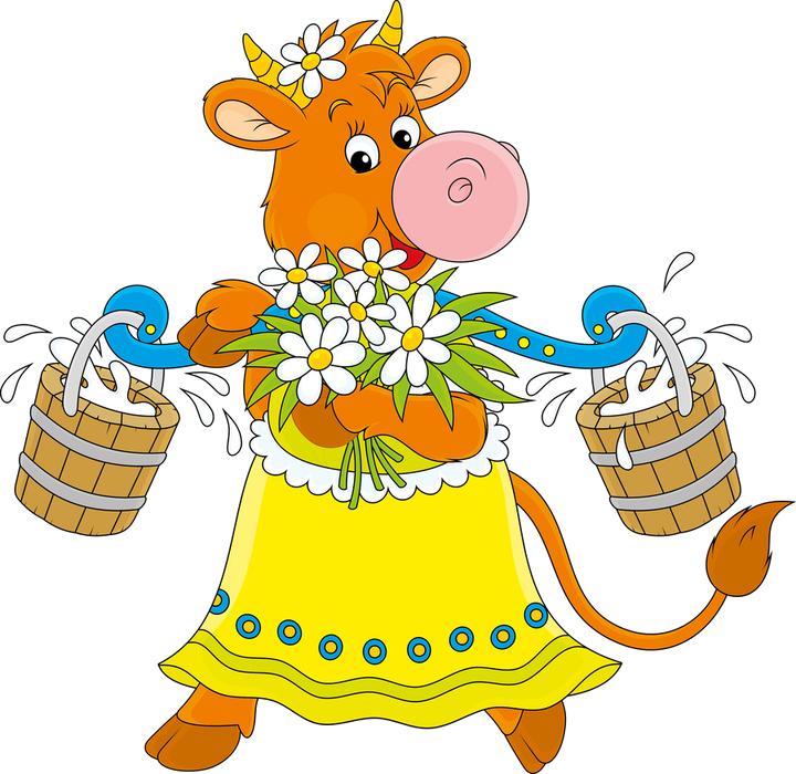 Прямо Из Сказки - Корова На Лугу Рисунок (720x700)