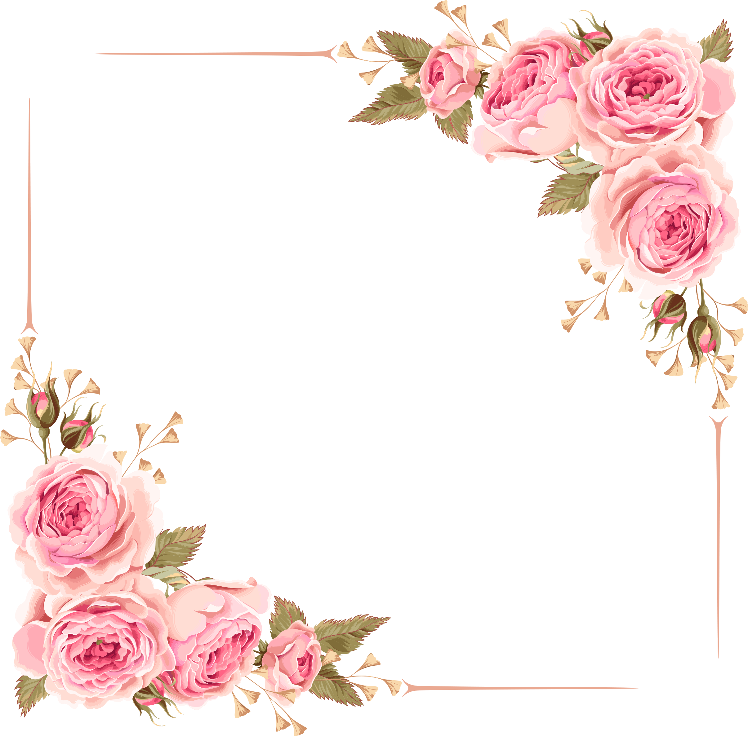 Wedding Invitation Flower Rose Pink Clip Art - Wedding Invitation Flower Borders (2480x2480)