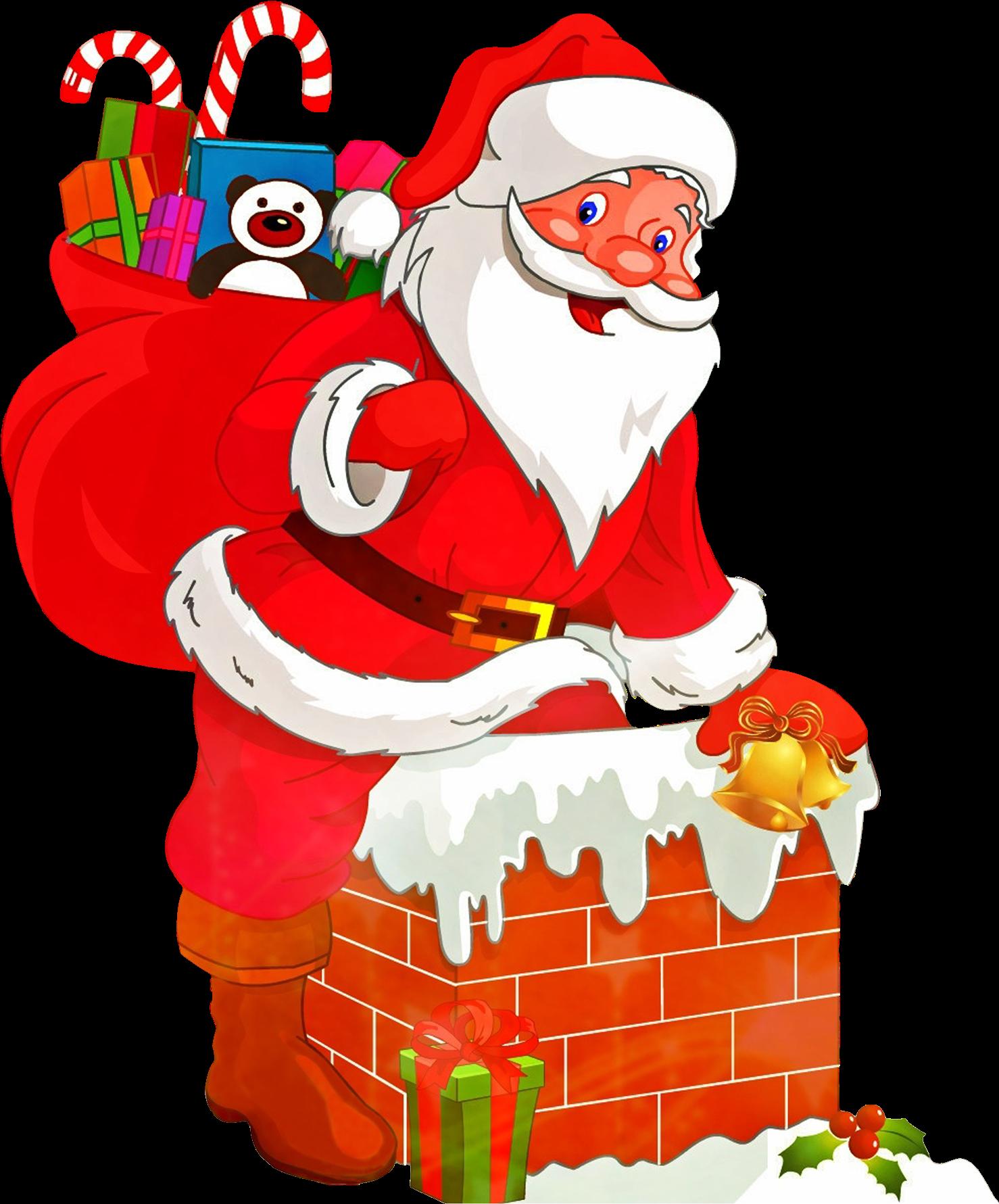 Санта клаус с подарками открытки