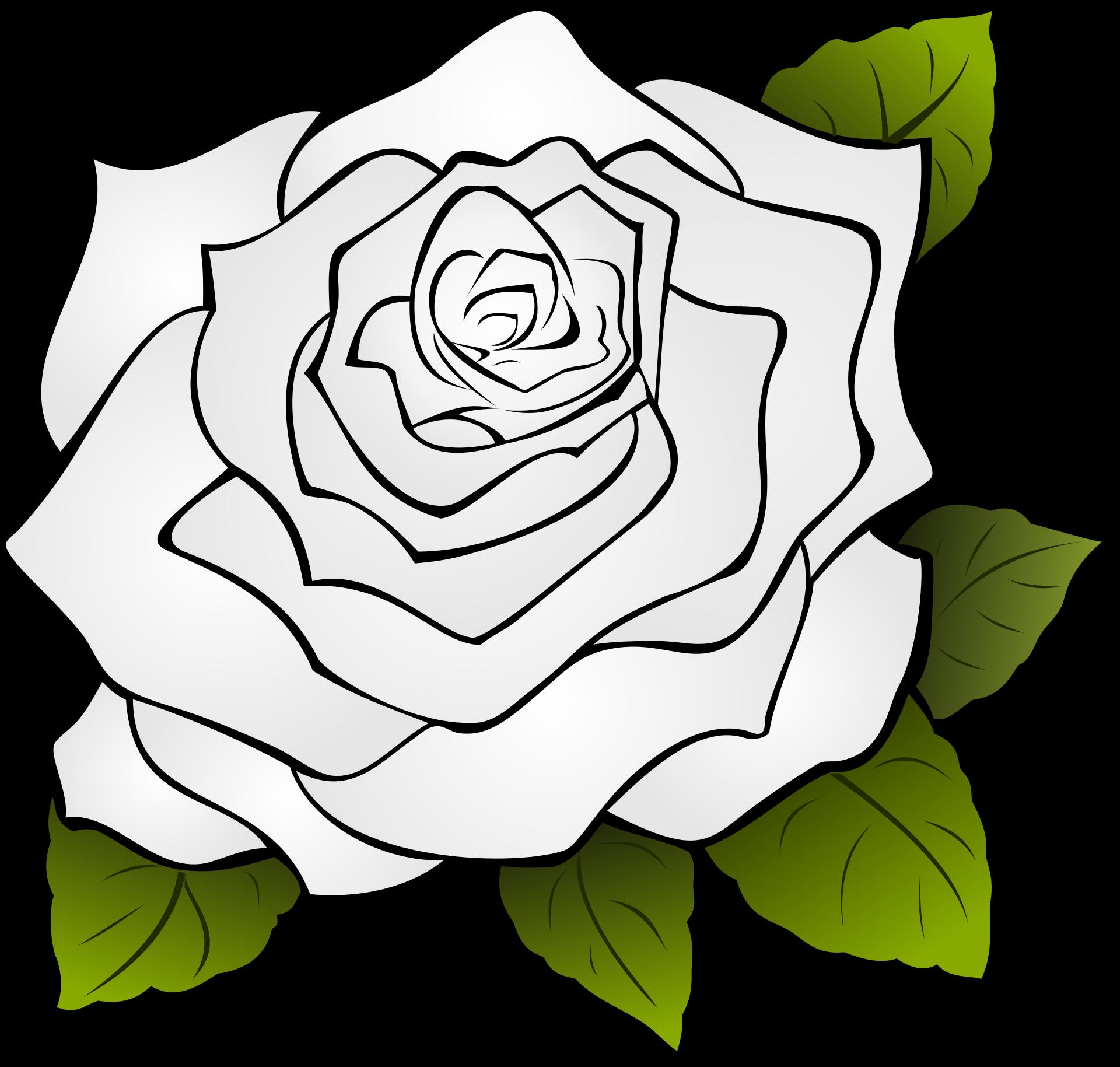 черно белые картинки для распечатки роза рисунок