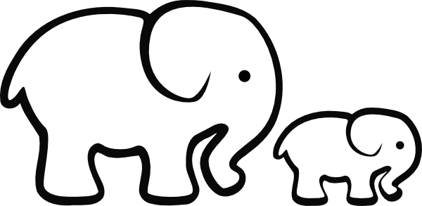 Elephant Clipart Easy Pencil And In Color Elephant - Baby Elephant Clipart Black And White (600x293)