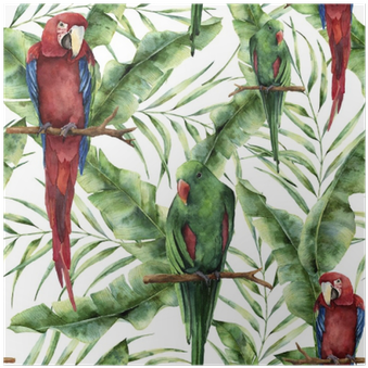 Watercolor Seamless Pattern With Parrots, Banana Palm - Hand
