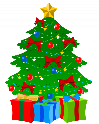 Last Day Before Christmas Break - Christmas Tree With Presents Clip Art (400x525)