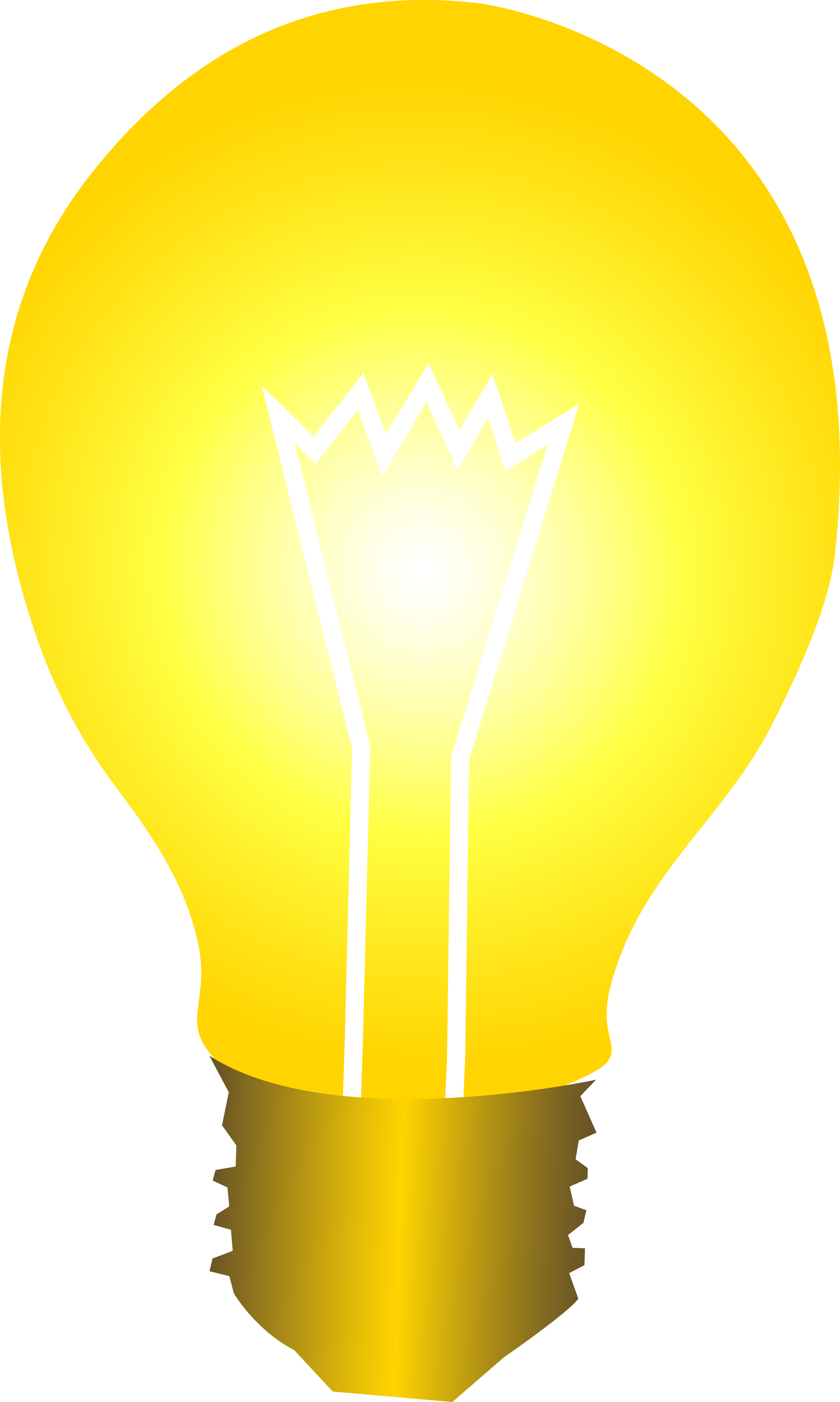 Bright Yellow Idea Light Bulb Clipart - Bright Yellow Light Bulb (2997x5000)