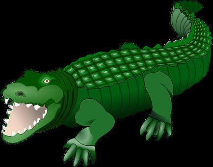 Crocodile Alligator Animal Reptile Green W - Crocodile Clipart (434x340)