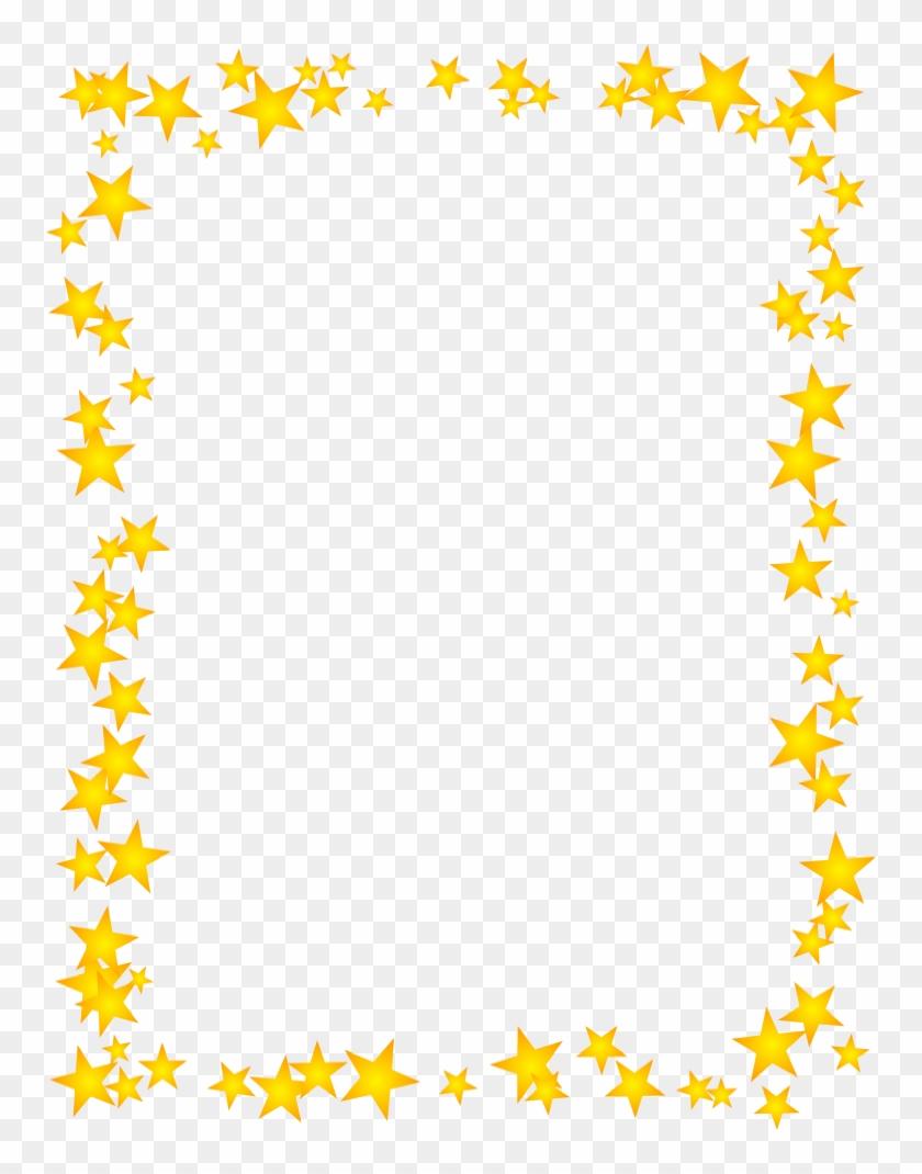 Gold Stars Scattered Border - Gold Star Border Clipart #893