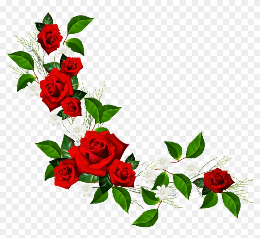 Decorative Element With Red Roses White Flowers And - Rose Border Clipart #914