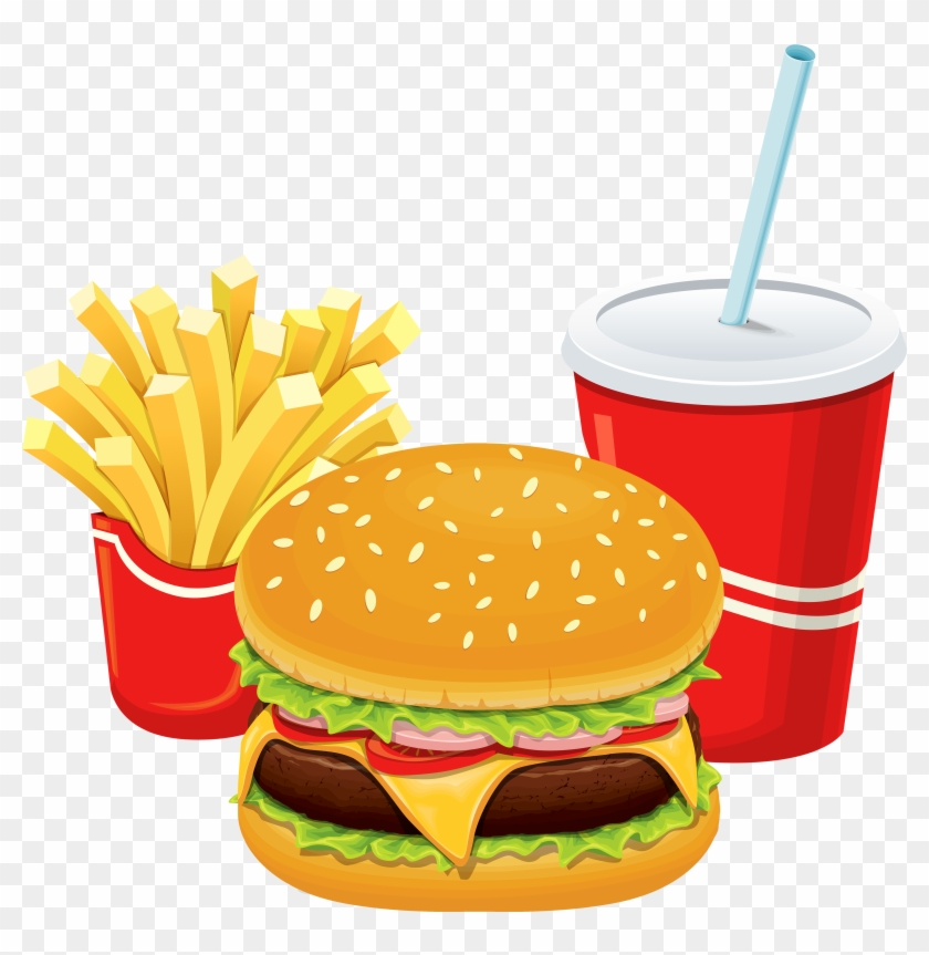 Hamburger Fries And Cola Png Clipart - Non Communicable Diseases Caused By Having Unhealthy #958