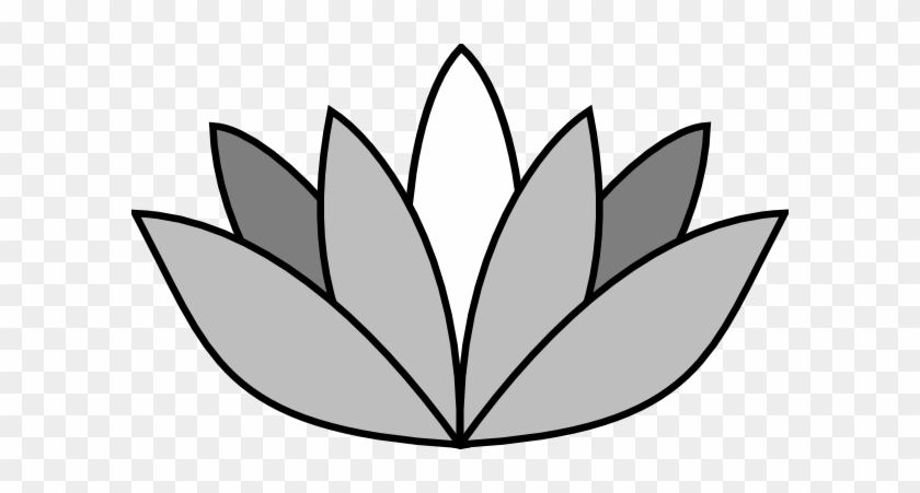 Greyscale Lotus Flower Clip Art - Easy Draw Lotus Flower #970