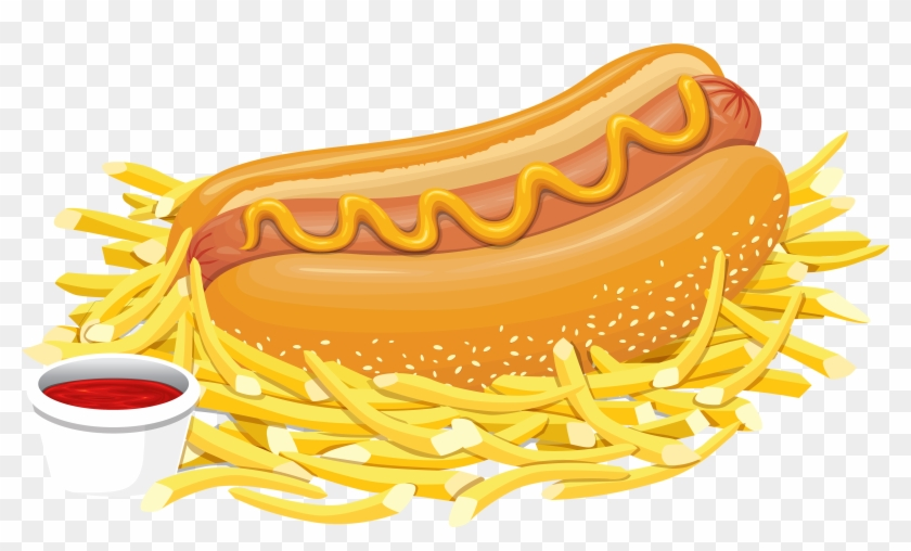 Hot Dog With Ketchup Png Clipart - Hot Dog With Fries Clipart #1035