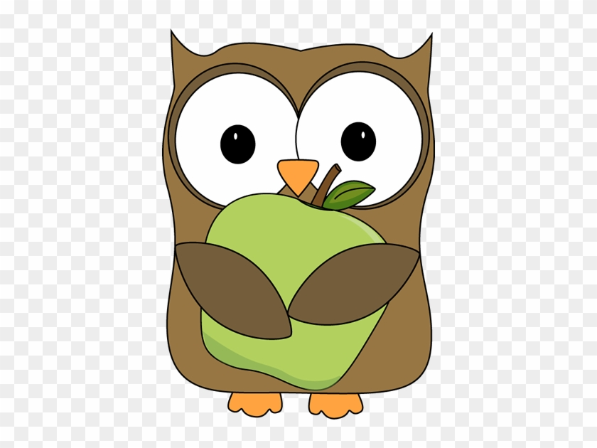 Owl Holding A Green Apple Clip Art - Owl Apple Clipart #1077