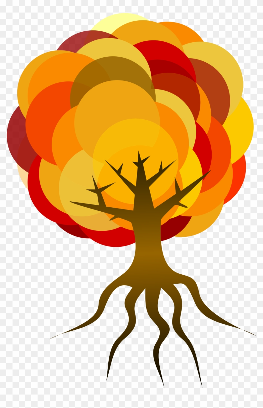 Clipart Simple Tree - Tree With Roots Clipart Fall Colors #1093