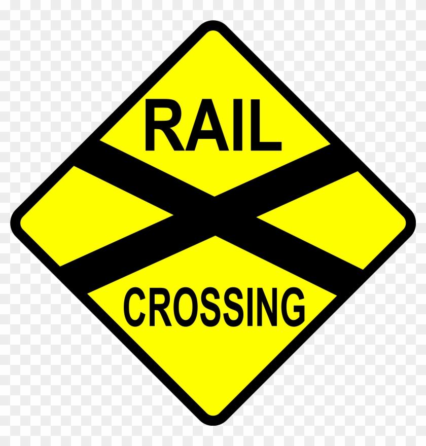 Free Vector Caution Railroad Crossing Clip Art - Railroad Sign Clip Art #1143