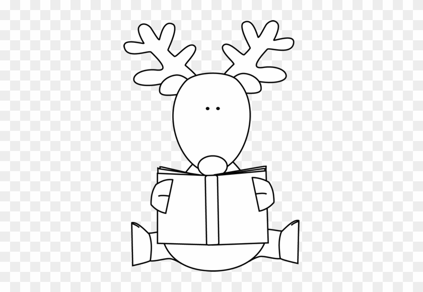 Black And White Reindeer Reading A Book - Christmas Books Black And White #1298