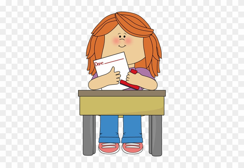 Girl Date Stamper - Girl Sitting At Desk Clipart #1338