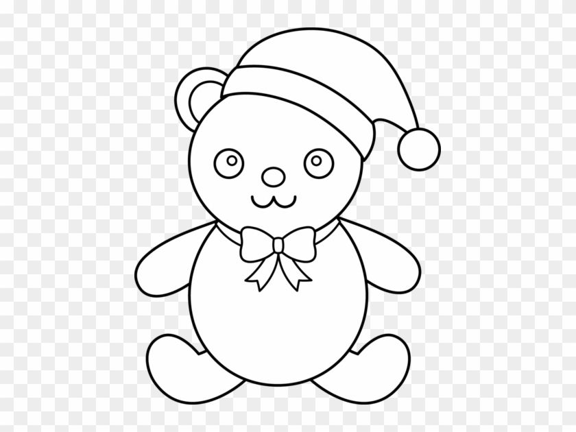 Teddy Bear Black And White Christmas Clipart Black - Teddy Bear Black And White Christmas Clipart Black #1403