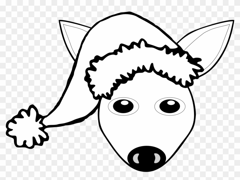 Fawn 1 Face With Santa Hat Black White Line Art Christmas - Fawn 1 Face With Santa Hat Black White Line Art Christmas #1407
