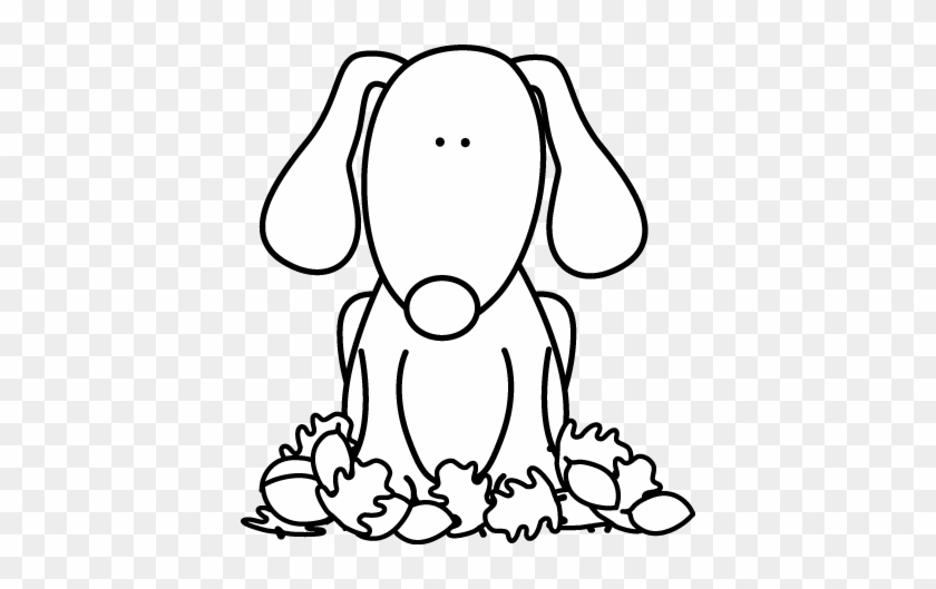Black And White Dog Sitting In Leaves Clip Art - Black And White Dog Sitting In Leaves Clip Art #1458