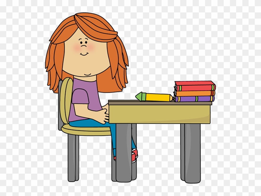Little Girl At School Desk - Little Girl At School Desk #1534