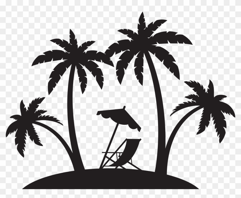 Palms And Beach Chair Silhouette Png Clip Art - Palms And Beach Chair Silhouette Png Clip Art #1670