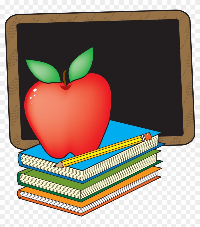 Clip Art Apple And Books School Clipart The Cliparts - Chalkboard And Apple Clipart #1657