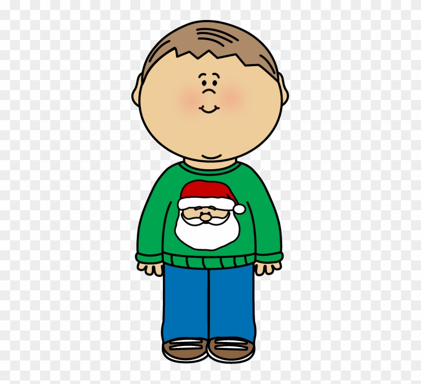 Kid Wearing A Christmas Sweater Clip Art - Little Boy On Christmas Clip Art #1688