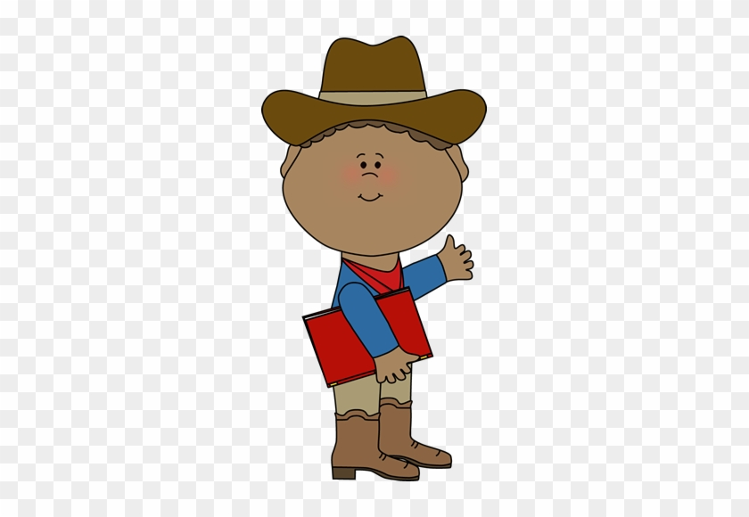 Cowboy With A Book - Cowboy Kids Clipart #1761