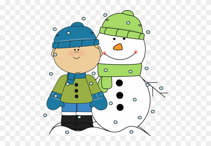 Boy And Snowman In The Snow - Snowy Day Clip Art #1856