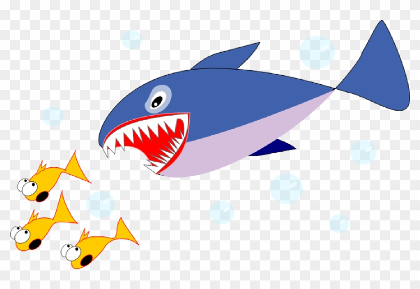School Of Fish Clip Art - Fish Shark Clip Art #1853